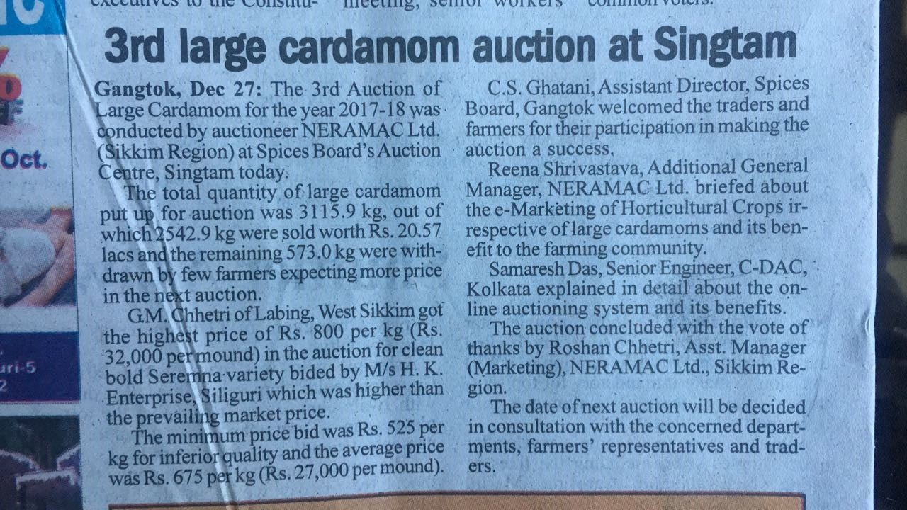 Auction of Large Cardamom in Singtam, Sikkim (Commercial Activity)
