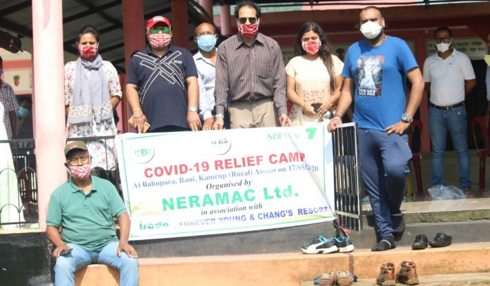 COVID 19 relief camp organized by NERAMAC to donate food items along with masks to some needy people