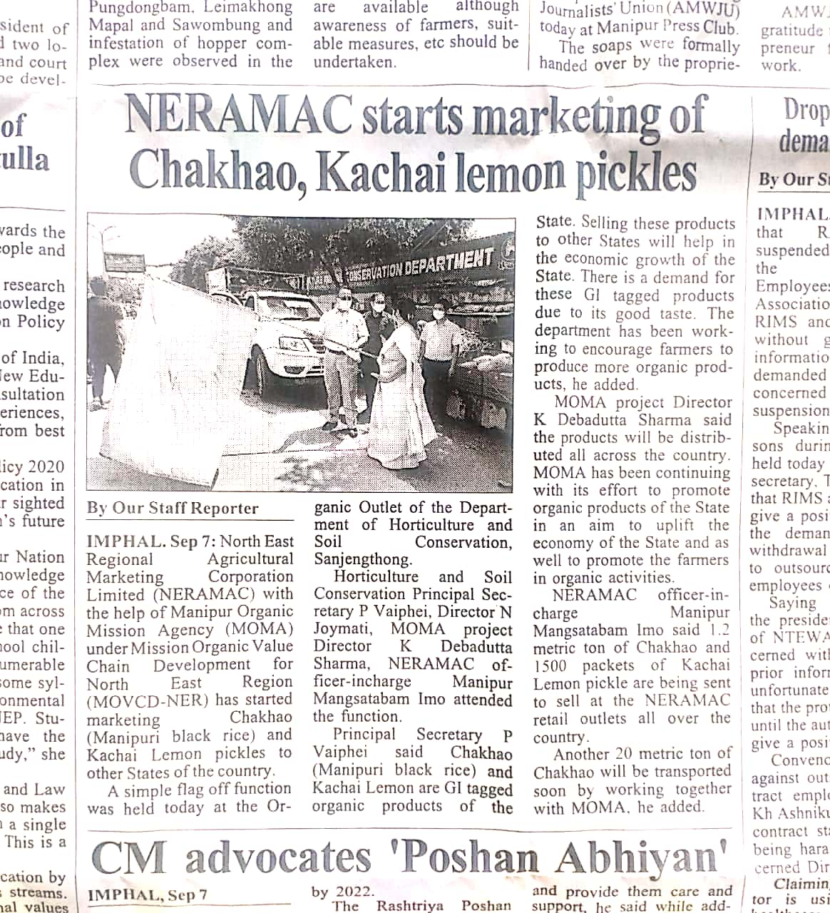 NERAMAC starts marketing of Chakhao & Kachai Lemon (GI product)