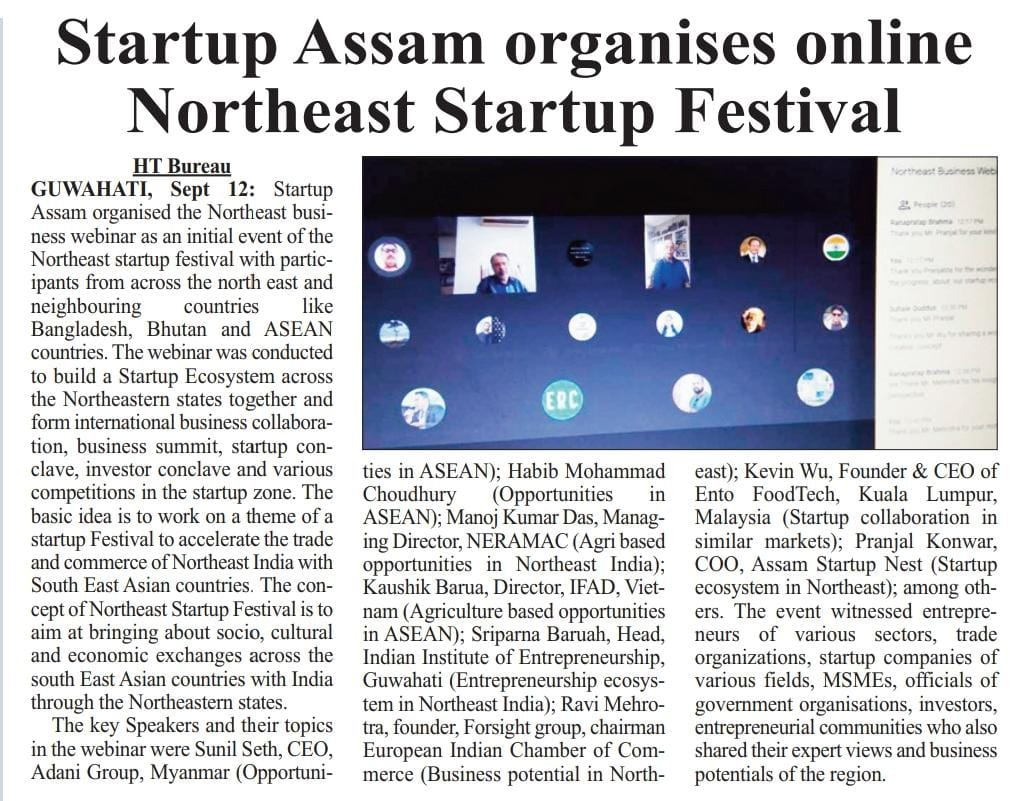 MD, NERAMAC attended North East Startup Festival and delivered a lecture on Agri based opportunities in North East India