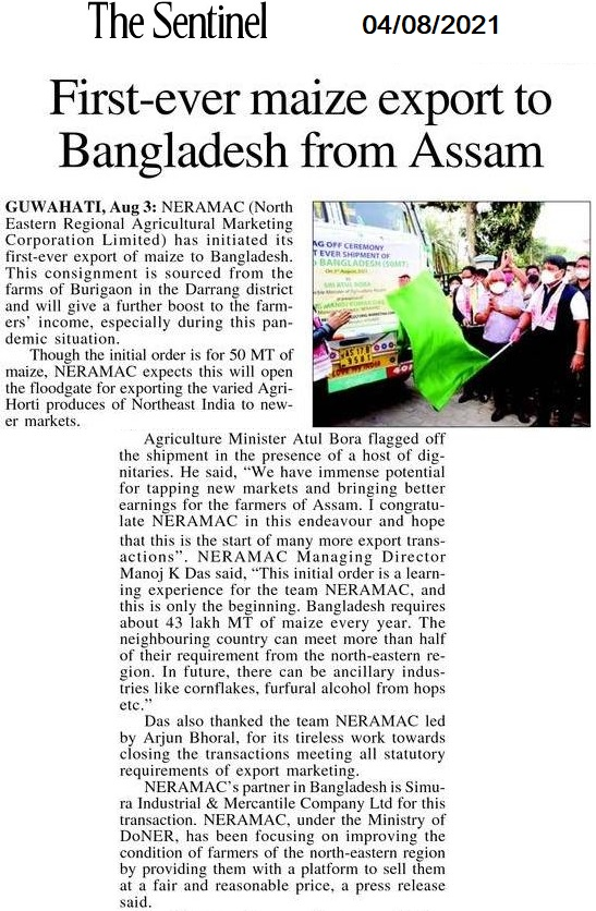 For the first time NERAMAC exported Maize to Bangladesh_The Sentinel_04-08-2021