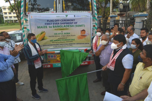 Maize Export to Bangladesh  - flagged off by Hon'ble Minister of Agriculture, Sri Atul Bora